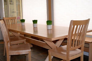 Solid Maple Table with 8 chairs and bench
