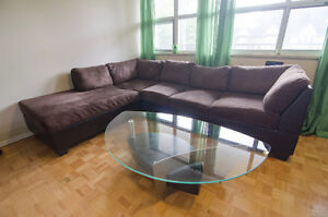 Brown sectional sofa with left chaise
