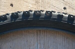 """Assorted used 26"""" mountain bike tires."""
