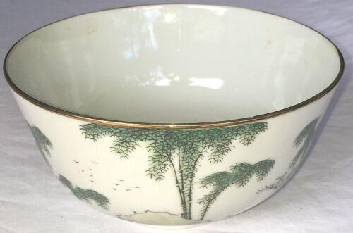 OLD SIGNED CHINESE BOWL with WRITING ON SIDE antique vintage China vase