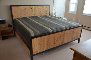 NEW King Size Bed Frame CUSTOMIZABLE Industrial/Country Mix
