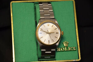 Rolex 5501 Stainless Steel Air King with 18kt Gold Bezel