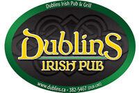 Dublin's Irish Pub Hiring Bartenders and Servers