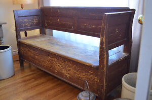 Large Rustic Bench with Storage-Charming!