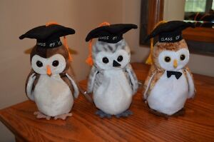 Ty Beanie Babies *Retired & Rare* - Set of 3 Graduation Owls