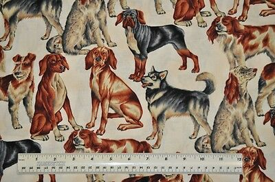 1/2 yard cotton quilt fabric Whiskers and Paws Hoffman large dog breeds animals