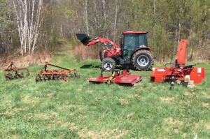 4wD Tractor with cab, loader, snow blower, brush mower and more