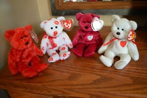 Ty Beanie Babies *Retired & Rare* - Set of 4 Valentine's Bears