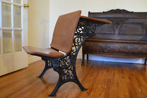 Beautiful antique wood and iron school desk.