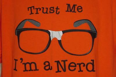 Black Glasses With Tape Trust Me Im A Nerd Smart Guy Screened T Shirt Large