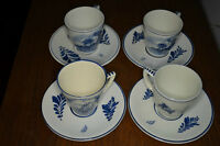 Hand Painted Blue Delft Tea Cups Saucers Miniature Vase