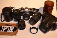 Nikon FE film Camera package with lenses- trade for Nikon Flash