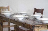 Handcrafted, Classic Harvest Table made from Century Old Wood