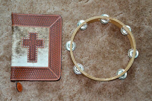 Leather tooled Bible cover with zipper and tambourine