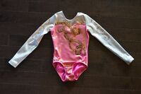 Competition Gymnastics Leotard-Pink and White