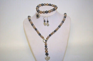 Sweet Pearlesque Lariat Necklace Set & Sparkle 3 Pair Earrings
