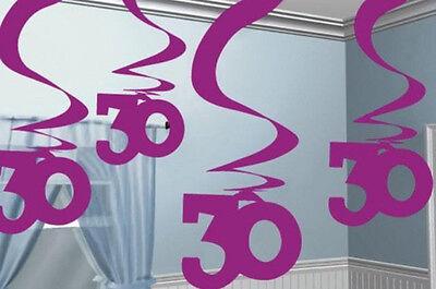 30th Birthday Pink Hanging Foil Swirls - 30th Birthday Decorations Pink
