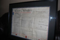 Antique framed land title