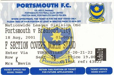Ticket - Portsmouth v Bradford City 18.08.01