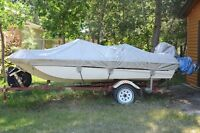 15 and a half foot trihull boat for sale and trailer