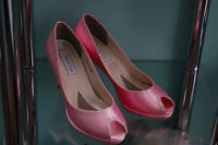 Blush pink satin shoes with crystals, NEW - $ 35
