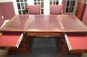Leather Top Partners Desk, Hutch, Credenza Book Case, 2 Chairs
