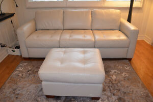 Natuzzi Editions leather sofa and ottoman set