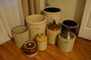 Antique Crocks, Various Sizes-Selling as a Lot of 8