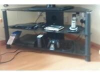 TV Stand Black Glass 3 Levels