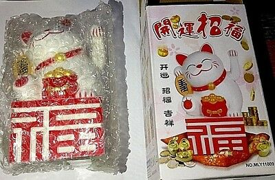 Chinese Lucky Good Luck Waving Hand Paw Up Fortune Cat Waving Hand 5 inch White](Guy Waving)