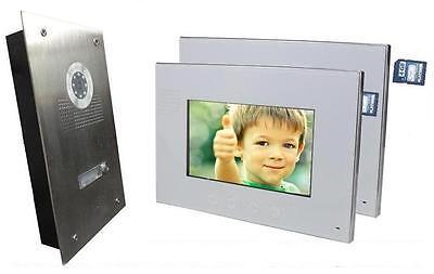 """Video Türsprechanlage Gegensprechanlage 2 X 7"""" Monitor Bildspeicher DVR Funktion"""