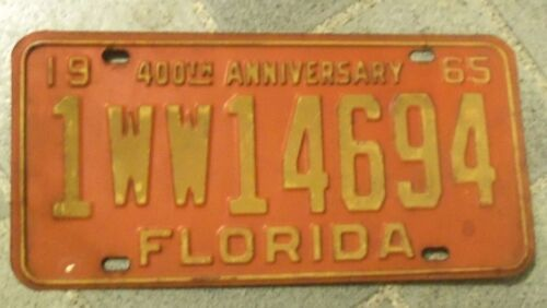 1965 FLORIDA ~ 400TH ANNIVERSARY 1 WW 14694~SUNSHINE STATE~LICENSE PLATE~TAG