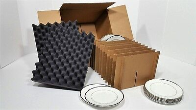 Dish Pack Kit Lot Of 2 Shipping Storage Box Moving Holds 12 Plates Up To 9