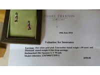 STUNNING pink Tourmaline and diamond earrings by STUART THEXTON JEWELLERS, NOTTINGHAM