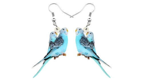 """Blue Parakeets 1"""" Drop Dangle Acrylic Earrings Very Light Weight  Gift boxed"""