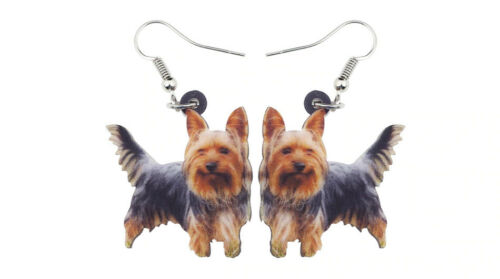 "Yorkie Yorkshire Terrier Dog 1"" Drop Dangle Acrylic Earrings Very Light Weight"