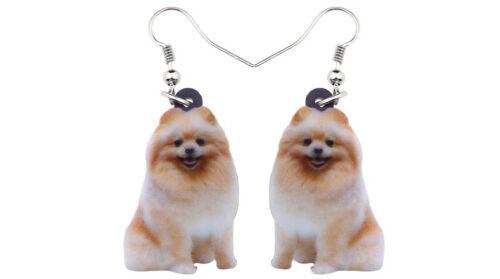 """Tan Pomeranian Dog 1"""" Drop Dangle Acrylic Earrings Very Light Weight  Gift Box"""