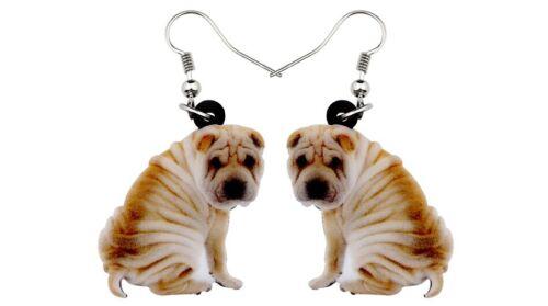"Shar Pei Dog 1"" Drop Dangle Acrylic Earrings Very Light Weight Gift Boxed"