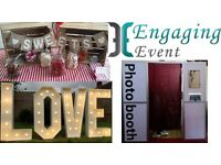 Photo booth hire, props, professional prints, pick and mix, 4ft LOVE lights and more! Engaging Event
