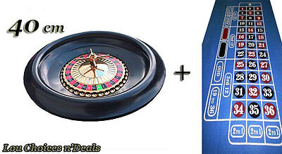 Roulette Wheel Set With Balls Blue Layout Felt Home Table Spin Game Casino Fun