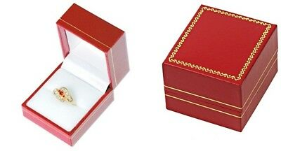 Wholesale 72 Classic Red Leatherette Ring Jewelry Display Gift Boxes
