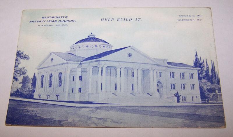 1911 Westminster Presbyterian Church WASHINGTON INDIANA Postcard