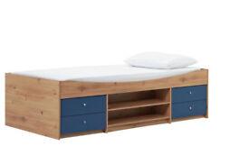 HOME Malibu Single Cabin Bed with Elliott Mattress - Blue on Pine
