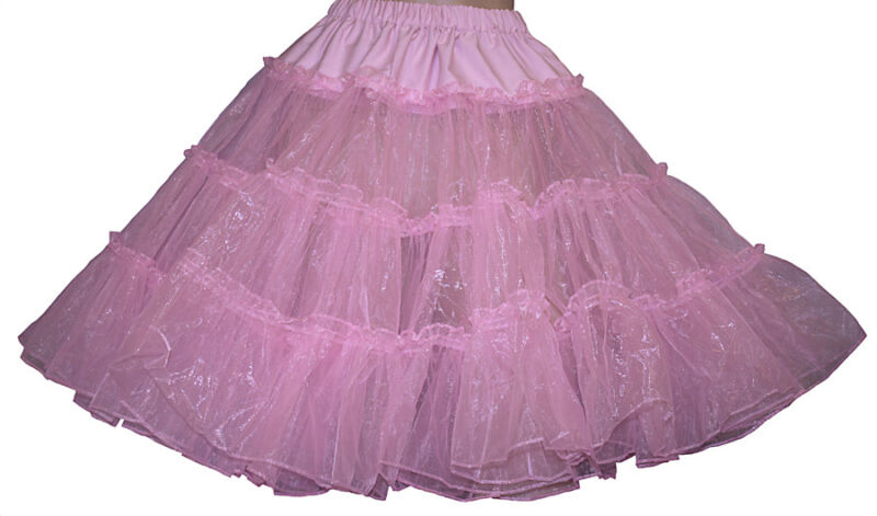 "SHINEY PINK SQUARE DANCE CRINLOLINE SZ XL/3X WAIST 40""-50""L22"""