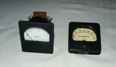 2 Rare Meters Westinghouse Volt Meter Weston Sangamo Model 301 D.c. Amperes