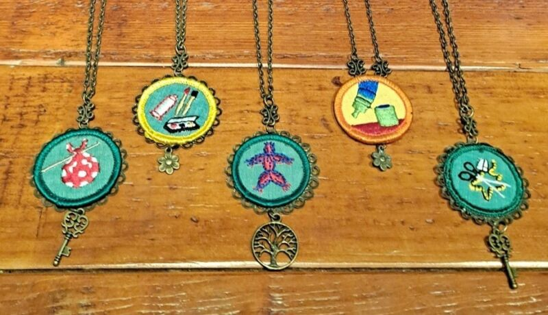 Lot Of 5 Vintage Girl Scout Merit Badge Necklaces Tree of Life Key Flower Charms