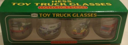 HESS TOY TRUCK SPECIAL BOXED SET OF 4 GLASSES,RARE EMPLOYEE BOX.RARE AMERADA OIL