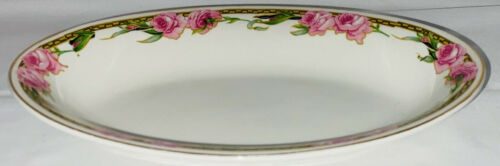 """Alfred Meakin *GLASGOW *PINK ROSES* 8"""" OVAL RELISH DISH"""