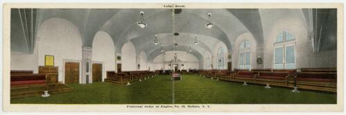 Fraternal Order of Eagles Lodge Room Bi-Fold Postcard 500 Pearl St Buffalo NY