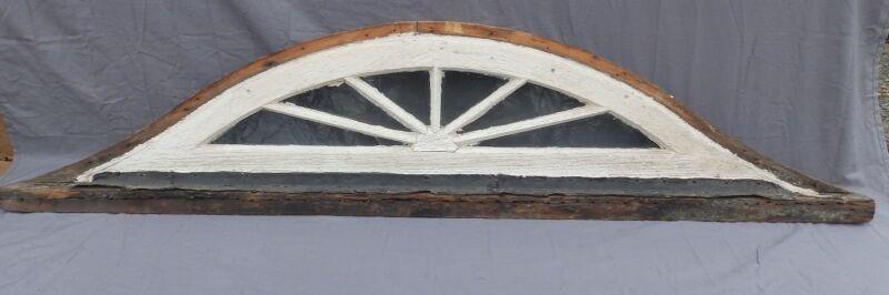 Antique Eyebrow Arch Top Dome Window Fan Sunburst Old Shabby Vtg Chic 561-17P